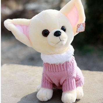 Free shipping 22cm special pacify sweet Chihuahua dog plush animal doll hold pillow stuffed toy girl personality gift 1 pc a lot