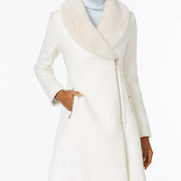 INC International Concepts Faux-Fur-Trim Asymmetrical Walker Coat, Created for Macy's - Coats - Women - Macy's
