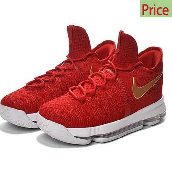 casual shoes ventilated Big Boys Womens KD 9 IX Flyknit University Red Gold shoe