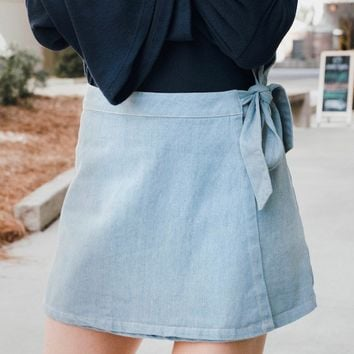 Chambray Wrap Mini Skirt