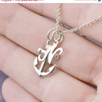 SALE Anchor Necklace - Sterling Silver Anchor -  Anchor Pendant - Nautical - Anchor Necklace - Inital Charm - Personalized