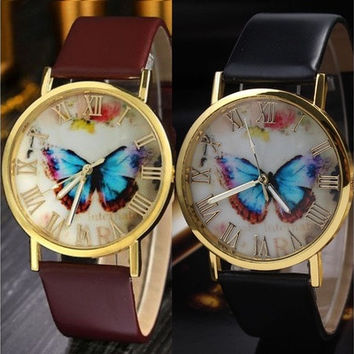 Womens Fashion Leather Band Analog Quartz Wrist Watch Butterfly Simple Style Brown Black White  [8069813831]
