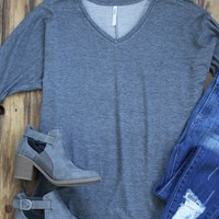 V-Neck Roll Sleeve Tunic, Charcoal