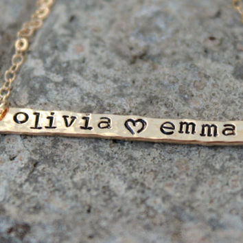 Simple Modern Gold Bar Necklace - initial gold bar - initial bar necklace - personalized gold bar necklace