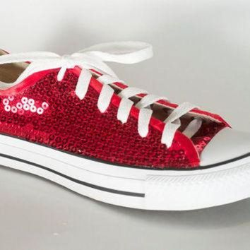 CREYONB Ruby Red Sequin Converse All Star 65f3eb511