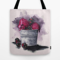 Blackberry Ice Cream,Watercolor illustration  Tote Bag by Koma Art