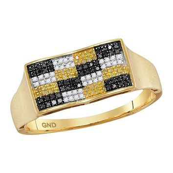10kt Yellow Gold Men's Round Black Yellow Color Enhanced Diamond Checkered Cluster Ring 1/4 Cttw - FREE Shipping (US/CAN)