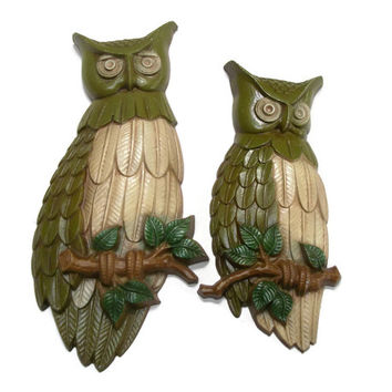 1969 Sexton Metal Owl Wall Plaques - Avocado Olive Green Brown & Tan Owl Bird Home Decor 1960s Wall Hangings Art