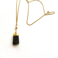 Gold Dipped Black Tourmaline Necklace, New Year's Eve Necklace, Holiday Jewelry,Black and Gold Necklace,Fine Jewelry, Dainty Jewelry