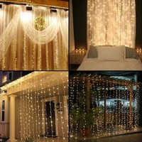 LED Curtain Lights 4.5*3m 300 LEDs Christmas String Lights for Home, Garden, Holiday,Party, Weddings, Christmas Decorations