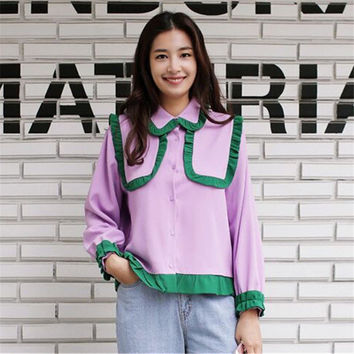 New  Korean style Summer Elegant Contrast Color Blouse Patchwork Peter Pan Collar Shirt Cute Blusas Women Tops 72504 GS