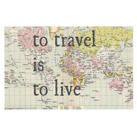 "Catherine Holcombe ""To Travel Is To Live"" Dog Place Mat, 18"" x 13""  - Outlet Item"