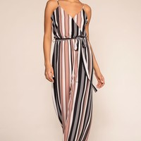 No Delays Stripe Jumpsuit - Mauve