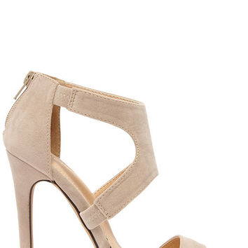 Twirl-wind Nude Suede Dress Sandals