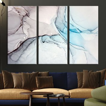 96037 - Blue Abstract Canvas Print | Large Abstract Art Print | Modern Marble Canvas Print