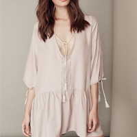 Beige Plunging Lantern Sleeve Dropped Waist Mini Dress