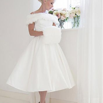 [118.99] Eye-catching Satin Off-the-shoulder Neckline A-Line Tea-Length Wedding Dresses - dressilyme.com