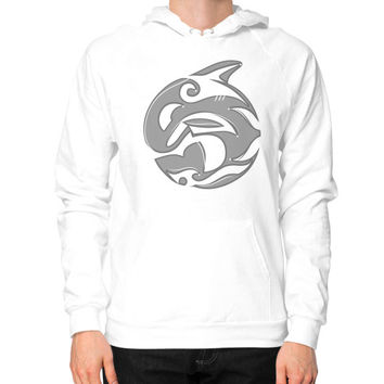 Diving Killer Whale Tattoo in Grey Hoodie (on man)