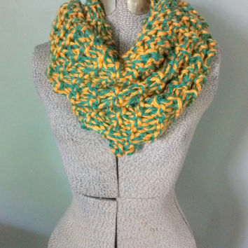 Chunky Knit Green and Gold Long Scarf, Green Bay Packers Inspired Scarf, Warm Team Spirit Scarf