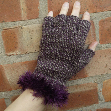Purple/green half-fingerless gloves with purple fur trim - size Small to Medium