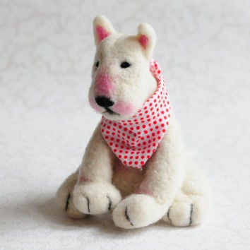 Needle felted white bull terrier - Custom animal, Realistic dog, Portrait dog, Felted puppy, Pet sculpture
