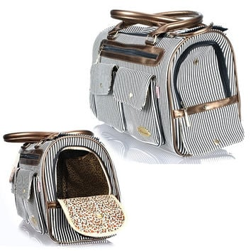 Fashion Pet Tote Piggy Bag Puppy Doggie Dog Cat Carrier Travel Handbag Stripe (Color: Black) = 1929740868
