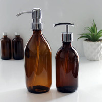 Amber Glass Bottle Soap Dispenser (300ml - 500ml) with Stainless Steel Pump in a choice of finishes