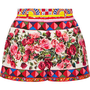 Dolce & Gabbana - Printed cotton-poplin shorts