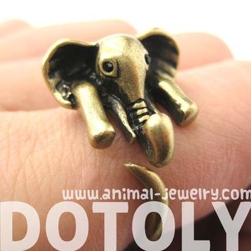 African Elephant Animal Wrap Around Ring in Bronze - Sizes 6 to 10.5 Available