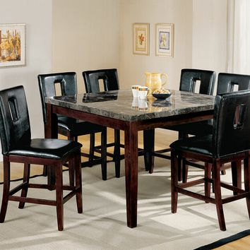 Acme 07059-16775 7 pc danville walnut finish wood black marble top counter height dining table set