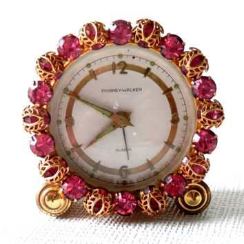 German Alarm Clock with Pink Rhinestone Trim Pre WWII by Phinney-Walker