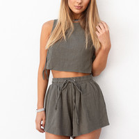 Buy Khaki Crepe Top Online by SABO SKIRT