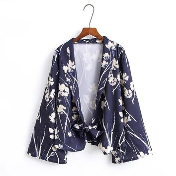 Vintage Woman Floral Leaf Pattern Print Tied Bow Hem Blazers Long Sleeve Ethnic Autumn Suits Outerwear Casual Cardigan