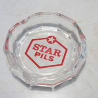 Star Pils Ashtray . Glass Beer Advertising Ashtray . Belgian Beer .