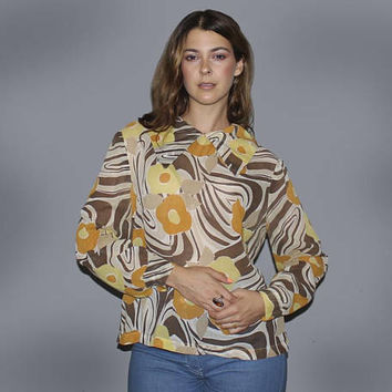Vintage 70s GROOVY FLORAL Top / Psychedelic Swirly Print, Brown Orange Yellow / Light and Airy Cotton Shirt / Dagger Collar, Long Sleeve