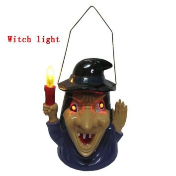 Portable Halloween Pumpkin Witch Ghost Light Props Glow Ghost Voice Light Supplies Home Party Decor Luminous Skull Witch Lamp