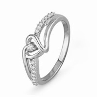 Sterling Silver Round Diamond Heart Promise Ring (1/10 cttw)