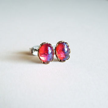 Tiny Dragons Breath Post Earrings Small Vintage Glass Mexican Opal Studs Hypoallergenic Iridescent Red