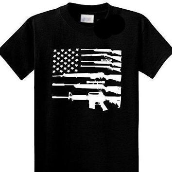 American Flag Made Of Gun Graphic T-Shirt Patriotic USA