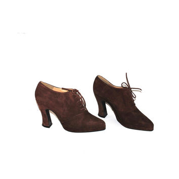 90s brown suede lace up platforms 1990s pointy toe lace up oxford ankle booties pumps size 7