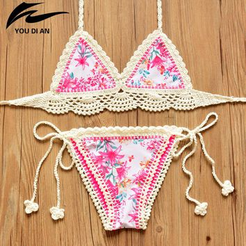 Bikini 2018 New Swimwear Women Handmade Bathing Suits Beachwear Push Up Crochet Bikini Swimsuit