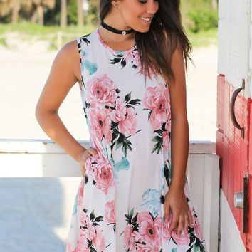 Ivory and Pink Floral Short Dress