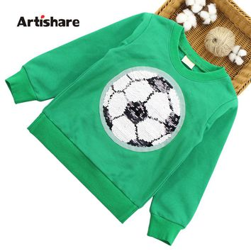Kids Sweatshirt Football Sequins Boy Girl T Shirt Long Sleeve Shirt Girls Cartoon Children Clothes For Boys Infantil Top 3 TO 7