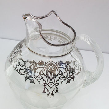 Silver Overlaid Glass Pitcher  Vintage Water Pitcher  Glass Water Pitcher  Art Deco Water Server