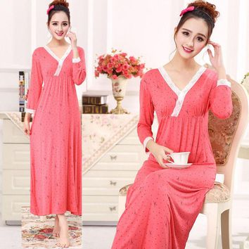 Modal Nightdress 100% Cotton Nightdress Fat Pajamas Ladies Long Sleeved Pajama Sexy Home Clothing  Princess Style New Arrival*1Q