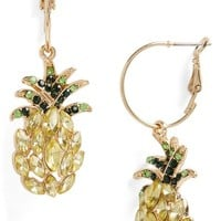 Topshop Pineapple Crystal Hoop Earrings | Nordstrom