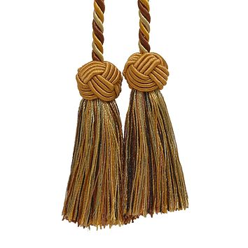 Double Tassel / Brown & Gold, Chair Tie Double Tassel / Tassel Tie with 3.5 inch Tassels, Baroque Collection Style# BCT Color: GOLDEN CHESTNUT 5207