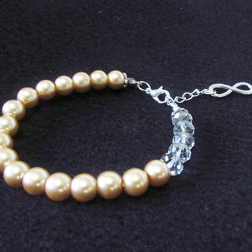 7 / 8 Inch Infinity Charm Bracelet - Champagne / Gold Glass Pearl Beaded Bracelet - Clear Crystal Adjustable Bracelet Jewelry Gifts for Her