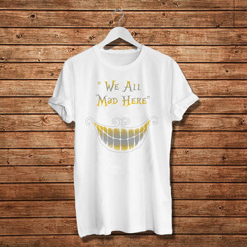 "Cheshire Cat Character Alice in Wonderland Disney Women T-Shirt (Size Print 10""x10"" - Available Various Color)"