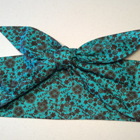 Dolly Headband, Tie-Up Hairband, Green Teal with Dark Brown Trailing Flowers